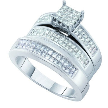Diamond Invisible Trio Set in 14k White Gold 1.42 ctw