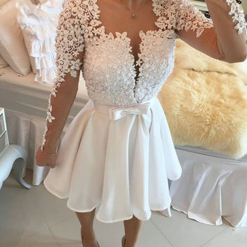 Appliques Pearls Long Sleeve Short Mini Cocktail Party Dress Pageant Dresses Homecoming Gowns Wedding Party Dress Prom Gowns