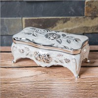 white color Jewelry Box Zinc-alloy Metal trinket box Vintage Rose Flower Design Tin-alloy Box Jewellery Casket Gift Box Z047