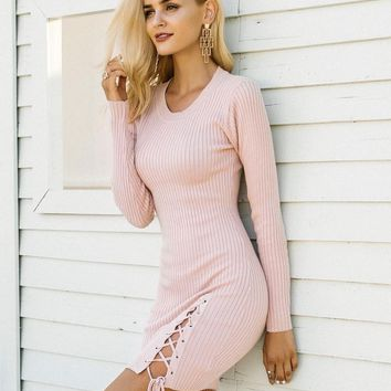 Simplee Lace up skinny knitted sweater dress women Elegant split pull knit winter dress 2017 autumn jumper vintage pullover