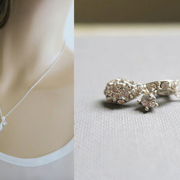 Bridal Necklace Crystal, Drop Necklace Sterling Silver Chain, Delicate Necklace Drop, Bridesmaids Gift Jewelry, Solitaire Diamond Rhinestone