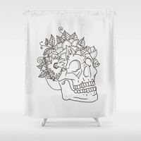 Floral Skull Shower Curtain by Maioriz Home