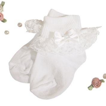 Lace, Satin Bow & Pearl Beaded Baby Girls White Nylon Dress Socks