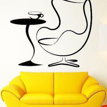 Wall Stickers Armchair Coffee Table Living Room Vinyl Decal Unique Gift (ig2415)