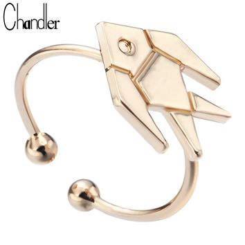 Chandler Unique Flying Fish Ring For Women Tiny Charm Adjustable Textured Bagues Hunking Wedding Band Fashion Luxury Accessaries