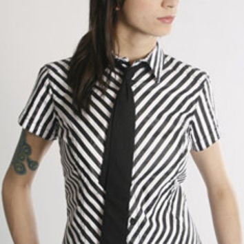 TRIPP GOTHIC PUNK EMO GOTH STRIPE TIE ROCKABILLY PIN UP ROCKER SHIRT SS3785P