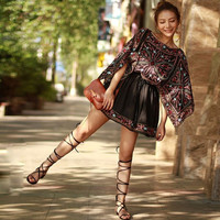 US US Cananda 2017 Summer Women Ethnic Chiffon Embroidery Hippie Boho People Mini dress Batwing sleeve Bohemian dresses Female Vestido