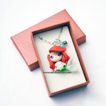 1mini Siren Ariel mermaid ooak necklace made in italy