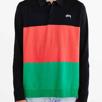 Stussy 3-Tone Long-Sleeve Polo Shirt