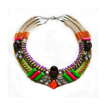 SKULL'S OUT for SUMMER statement skull necklace in neon pink, green, orange, yellow and purple