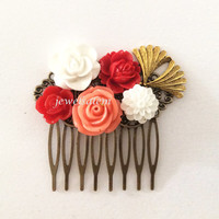 Wedding Hair Accessories Bridal Hair Comb Coral Red Gold Collage Flower Headpiece Quaint Floral Bridesmaid Hair Pin Chintz Vintage Style