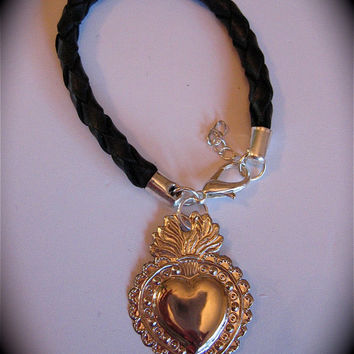 SACRED HEART Milagro Leather Bracelet- Protection that you need