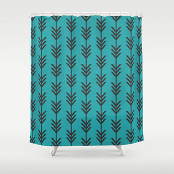 Teal & Black Chevron Arrows Shower Curtain by Bohemian Gypsy Jane