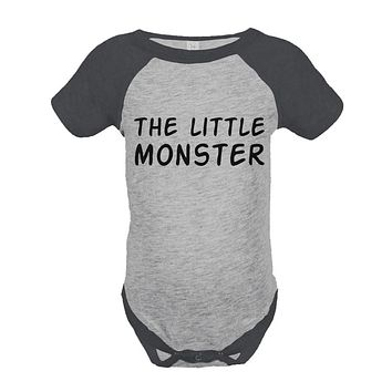 Kid's Little Monster Outfit - Monster Grey Raglan Onepiece, Shirt - Happy Fathers Day Gift - Father's Day - Father Son Outfit
