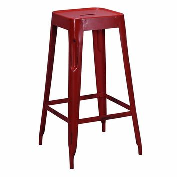 Tolix Style Bar Stool Red - Iron - Reproduction