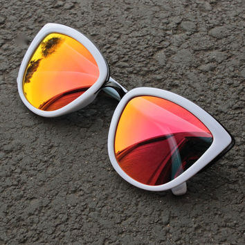Quay My Girl Sunglasses in white with orange mirror lens