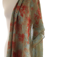 Eucalyptus indigo eco print, super fine merino wool shawl, red orange leaf print indigo long wool shawl, eco dyed wool woven scarf teal