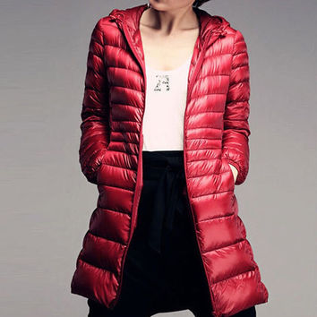 Winter Down Parka Womans Slim Hooded White Duck Down Jacket Warm Down Overcoat Light Outerwear C85