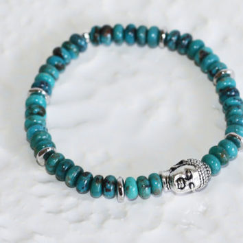Natural Turquoise Heishi Beads and Silver Plated Buddha Stretch Bracelet Kaya Jewelry