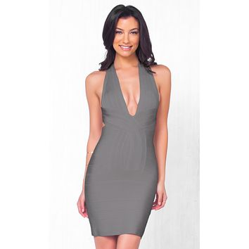 She's A Catch Sleeveless Grey Plunging Deep V Neck Cross Back Body Con Bandage Fitted Mini Dress