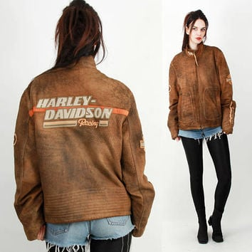 HARLEY Davidson Jacket / Brown  Jacket / Motorcycle Jacket / Biker Jacket / 80s Vinatge Jacket Size L