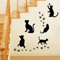 Cats Strong Character Creative Stickers Living Room Bedroom Pattern Wall Sticker [4923150020]