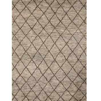 EORC Hand-knotted Wool Gray Transitional Trellis Moroccan Rug