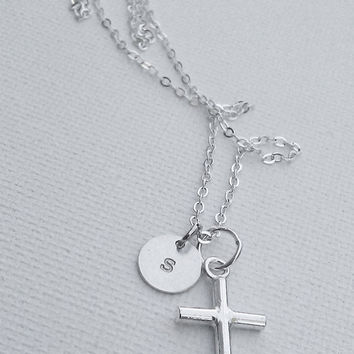 Sterling Silver Cross Necklace with Personalized Initial Disc Charm, Simple Daily Jewelry, Christian, Baptism, Communion, Confirmation Gift