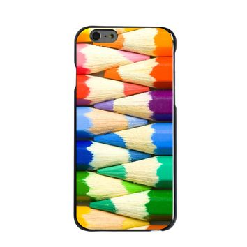 DistinctInk® Hard Plastic Snap-On Case for Apple iPhone - Rainbow Colored Pencils