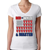 Red White And Wasted 4th of July Women's Sporty V Shirt
