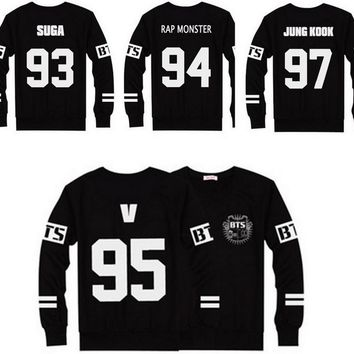 KPOP BTS Bangtan Boys Army Popular 2016 Hot    Boys JUNG KOOK JHOPE JIN JIMIN V SUGA Sweatshirt Black Autumn Long Sleeve Hoody Outerwears AT_89_10