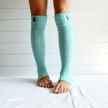 Legwarmers in AQUA with buttons - leg warmers - light blue, diamond pattern, button leg warmers, legging, yoga, winter fashion, mint