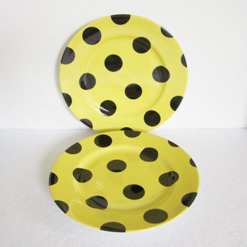 Vintage Fitz and Floyd Polka Dot Salad Plates Set of Two