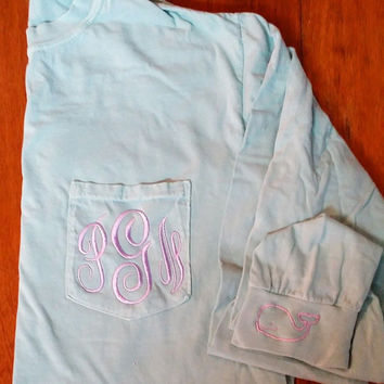 Long Sleeve Monogrammed Comfort Color Pocket Tees with Whale on Cuff