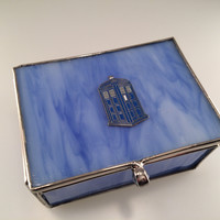 Doctor Who Inspired TARDIS Sea Glass Trinket Box