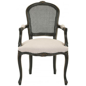 Safavieh Home Furniture MCR4576A White Arm Chair -Distressed Java Finish