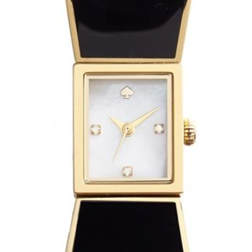 Women's kate spade new york 'carlyle' bow bangle watch, 15mm - Black