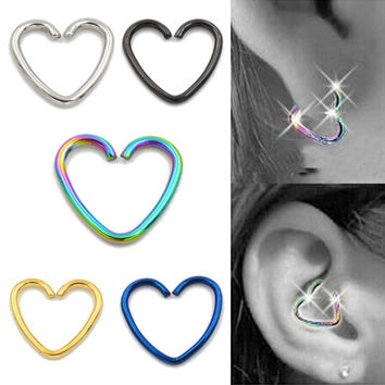 5 Pcs/set New Punk Fashion Ear Cuff Wrap Heart Clip On Earring Non Piercing