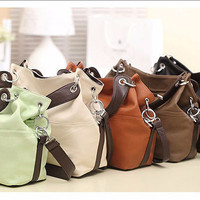 Chic Punk Large Leather Shoulder Handbag Messenger Motorcycle Bag Crossbody Bucket Bag _ 2435