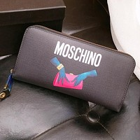 MOSCHINO New Hot Sale Women Men Leather Zipper Wallet Purse