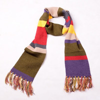 Doctor Who Fourth 4th Dr.Warm Thick Knitted Striped Scarf With Tassels (Color: Multicolor) = 1958233092