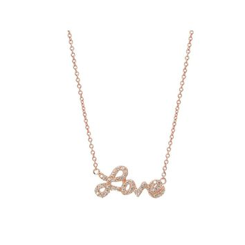 Cursive Love Necklace Rose Gold Sterling Silver, Length: 16-18 Inches by Fronay Co