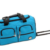 """PRD322-TURQUOIS 22"""" Rolling Duffle Luggage Bag"""