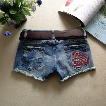 Women's Blue Energy Embroidered Ripped Distressed Denim Shorts