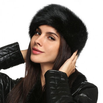 Women Fashion Winter Faux Fur Russian Cossack Style Headband Ski Hat Ear Warmer