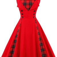 Atomic Red Tartan Plaid Cocktail Dress