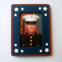 4x6 Inch Patriotic Picture Frame, Military Photo Frame, USMC, Marine Corps, Army, Navy, Air Force, Coast Gaurd