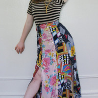 Quirky skirt, vintage mismatched button front skirt S