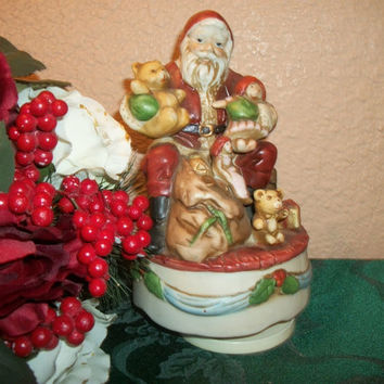 Vintage Santa Claus Figurine  Wind Up Music Box Silent Night Ceramic Bisque Old World St. Nicholas Christmas Home Decor