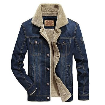 Men Denim Outwear Warm Jacket 764